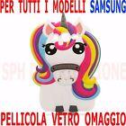 COVER + Pellicola VETRO Custodia UNICORNO 3D PONY in SILICONE per Samsung Galaxy