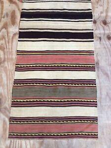 Antique Flat Weave Kilim With Stripe Design Rug