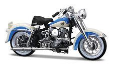 HARLEY DAVIDSON 1958 FLH DUO GLIDE 1:18 AZUL-BLANCO modelo de Motocicleta MAISTO
