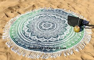 Indian Ombre Round Mandala Bed Cover Decor Yoga Mat Boho Tapestry Beach Throw