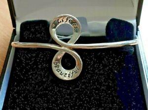 Equilibrium Silver Sentimental *LIFE IS BEAUTIFUL* Bangle Bracelet