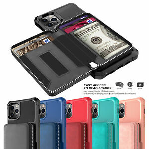 Zipper Leather Wallet Card Case Cover For iPhone 12mini 11 Pro Xs Max 6s 7 8Plus