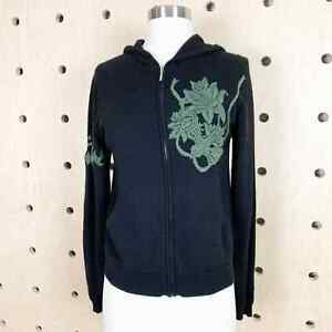 Raw 7 Cashmere Embroidered 00 Black Cardigan Hoodie Sweater Size Large
