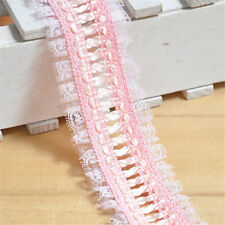 3 Yard Pink Lace Braid Pleated Trim Gathered DIY Lace Trim Craft 17328f B#