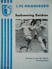 Programm 1981/82 1. FC Magdeburg - Sachsenring Zwickau