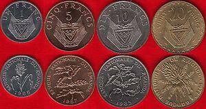 Rwanda set of 4 coins: 1 - 20 francs 1977-1987 UNC