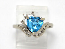 Round Diamond Right Hand Ring 2.36ct 14k White Gold Heart Blue Topaz and