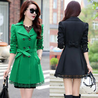 Women Korean Fashion Fall Trench Coat Jacket Casual Bows Double Breasted Outwear