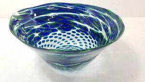 Artist Signed Hand Blown Studio Art Glass Bowl
