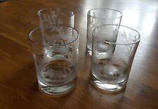4 handgravierte Wassergläser Whiskybecher Jagdmotive Glas Whiskeyglas