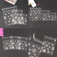 100X DIY Hot Candy Christmas Xmas Party Gift Cellophane Cello Bags Self AdhevzYL