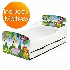 JUNGLE ANIMALS MDF TODDLER BED + SPRUNG MATTRESS WITH UNDERBED STORAGE