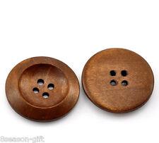 10 Piezas Marrón natural Botones Madera Redondo 4 agujeros 25 mm de diámetro