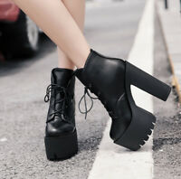 Womens Platform Roman Super High Heels Ankle Boots High Top Chunky Black Shoes
