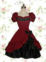 Victorian Lolita Maid Red Lace Dress Uniform Cosplay Costume Halloween