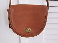 Vintage COACH Mini Crossbody Bag Bell Saddle Bag Tan Leather Purse