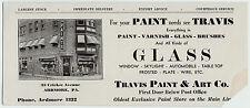 RARE -1920s Advertising Store Blotter - Ardmore PA - Travis Paint & Art Store