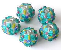 10pcs handmade Lampwork glass round Beads blue flower 15mm