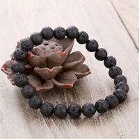 Unisex schwarz natürliche Lava Stein elastische Perlen Armband Modeschmuck