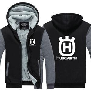 New Men Husqvarna Hoodie Fleece zip up Coat winter Jacket warm Sweatshirt