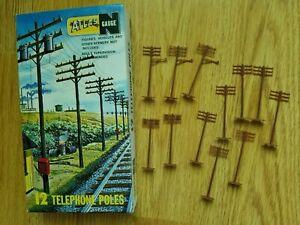 "Vtg RR Model ATLAS ""N"" Scale Gauge Train 12 TELEPHONE POLES #2801 in Box"