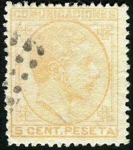 ESPAÑA 1878. Alfonso XII. 5 céntimos naranja. Usado. Edifil 191.