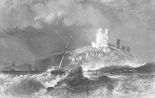 Northumberland, Medieval DUNSTANBURGH CASTLE Fortress ~ 1840 Art Print Engraving
