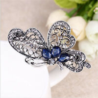 Vintage Blue Crystal Butterfly Exquisite Barrette springs Clip Hair Accessories