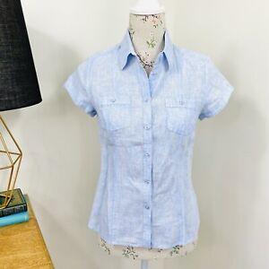 Sportscraft Womens Pure Linen Shirt Blue Short Sleeve Size 8