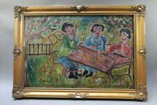 Julius Jakoby (1903-1985) Slowakei, Ölgemälde 75 x 95cm, Gartengespräch,signiert