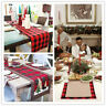 Red Buffalo Plaid Table Runner Christmas Wedding Party Dining Room Decoration