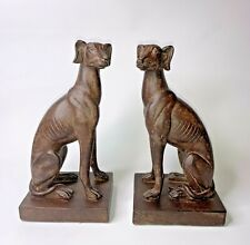 """2 Vintage Greyhound Whippet Dog Bookends Ceramic Art Deco 9"""" Tall"""