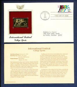 1993- University Sports - Buffalo NY  - 22Kt Gold Golden FDC Cover stamp