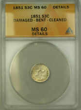 1851 Silver Three 3 Cent Piece ANACS MS-60 Details