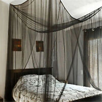 4 Corner Post Bed Canopy Mosquito Net Full Queen King Size Netting Black Bedding