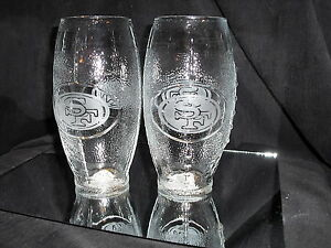 SAN FRANCISCO 49ER'S 2 ETCHED LOGO FOOTBALL GLASSES 23oz NEW