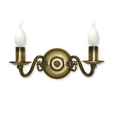 WALL LIGHT - 2 ARMS TRADITIONAL - ANTIQUE BRASS FINISH - CANDLE CHANDELIER
