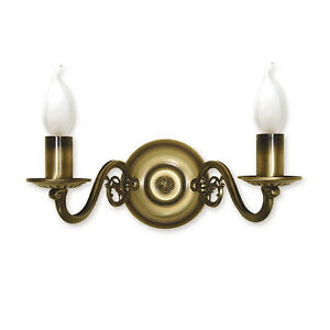 CHANDELIER WALL LIGHT - 2 ARMS TRADITIONAL - ANTIQUE BRASS FINISH - CANDLE