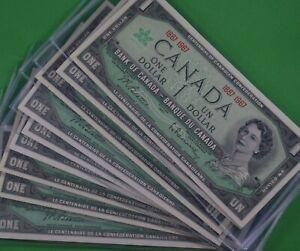 Ten  -  Uncirculated  - 1867   - 1967   $1.00  Centennial Canadian Banknotes