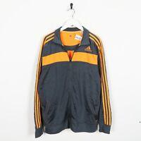 Vintage ADIDAS Small Logo Tracksuit Top Jacket Grey Orange | Large L