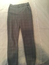 Women Plaid Check High Waist Pencil Pants Ladies Skinny Slim Fit Trousers