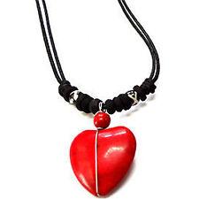 Red Love Heart Pendant Chain Necklace Choker Womens Ladies Girls Kids Jewellery