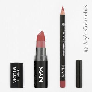 2 NYX Matte Lipstick 15 Whipped Caviar + Slim Lip pencil 831 Mauve Set Joy's