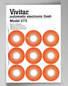 Vivitar 273 Electronic Flash Instruction Manual Original multi-language