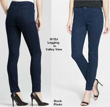 NYDJ Leggings Skinny Jeans USA Sz 2 EUR 32 Blue Leopard Print Lift Tuck NEW