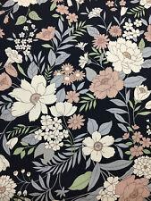 """Noir & Brun Fleurs """" Lilly """" Imprimé Floral 100% Coton Popeline Tissu"""