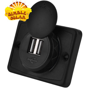 12V Dual USB socket, slim surface mount 5V 3.1A - new slim wall mount model
