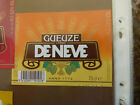 VINTAGE BELGIUM BEER LABEL. DE NEVE BREWERY - GUEUZE BEER ORANGE