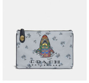 ❤️ Coach Turnlock Pouch 26 Multi Blue With Rainbow Signature Sharky