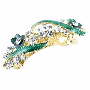 Femmes Vert Fleur Diamant Fantaisie Barrette Pince à cheveux